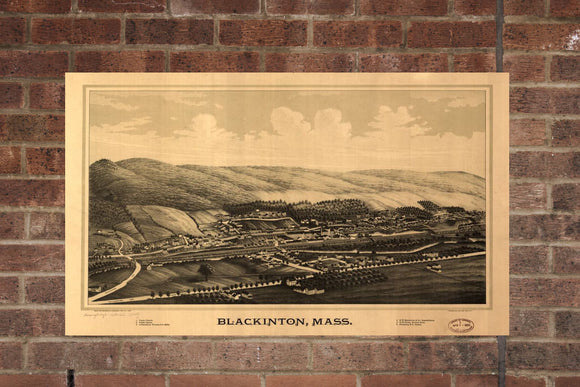 Vintage Blackinton Print, Aerial Blackinton Photo, Vintage Blackinton MA Pic, Old Blackinton Photo, Blackinton Massachusetts Poster, 1889