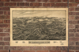 Vintage Waterville Print, Aerial Waterville Photo, Vintage Waterville NY Pic, Old Waterville Photo, Waterville New York Poster, 1885