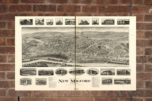 Vintage New Milford Print, Aerial New Milford Photo, Vintage New Milford CT Pic, Old New Milford Photo, New Milford Connecticut Poster, 1906