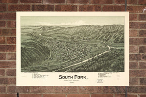 Vintage South Fork Print, Aerial South Fork Photo, Vintage South Fork PA Pic, Old South Fork Photo, South Fork Pennsylvania Poster, 1900