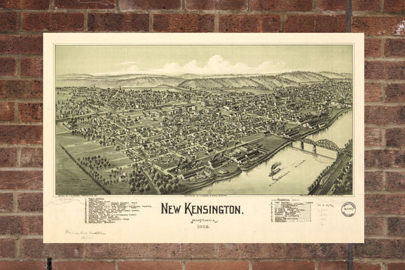 Vintage New Kensington Print, Aerial New Kensington Photo, Vintage New Kensington PA, Old New Kensington, New Kensington Pennsylvania Poster