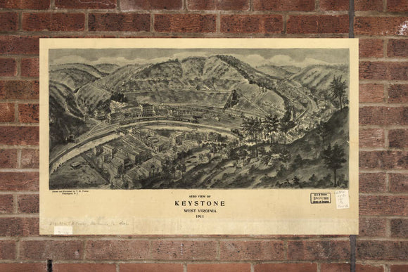 Vintage Keystone Print, Aerial Keystone Photo, Vintage Keystone WV Pic, Old Keystone Photo, Keystone West Virginia Poster, 1911