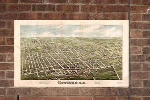 Vintage Concord Print, Aerial Concord Photo, Vintage Concord NH Pic, Old Concord Photo, Concord New Hampshire Poster, 1875