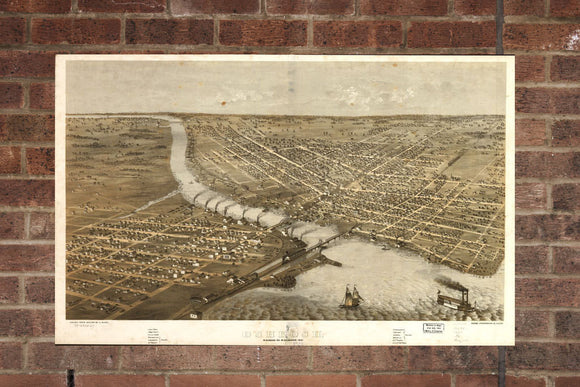 Vintage Oshkosh Print, Aerial Oshkosh Photo, Vintage Oshkosh WI Pic, Old Oshkosh Photo, Oshkosh Wisconsin Poster, 1867