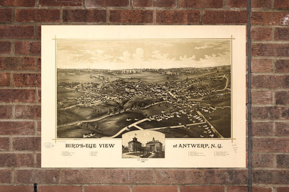 Vintage Antwerp Print, Aerial Antwerp Photo, Vintage Antwerp NY Pic, Old Antwerp Photo, Antwerp New York Poster, 1888