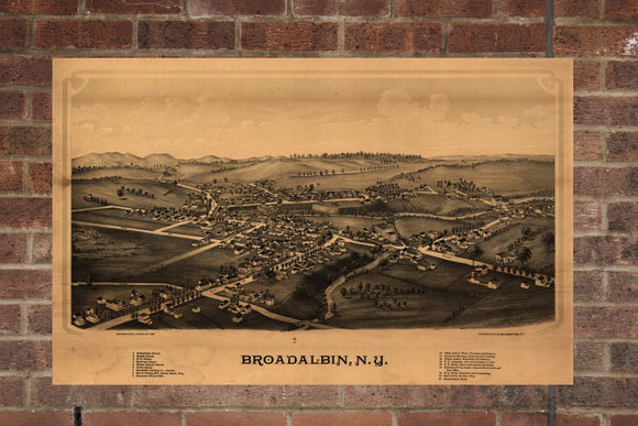 Vintage Broadalbin Print, Aerial Broadalbin Photo, Vintage Broadalbin NY Pic, Old Broadalbin Photo, Broadalbin New York Poster, 1880