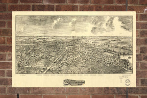 Vintage Edinboro Print, Aerial Edinboro Photo, Vintage Edinboro PA Pic, Old Edinboro Photo, Edinboro Pennsylvania Poster, 1898