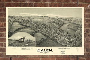 Vintage Salem Print, Aerial Salem Photo, Vintage Salem WV Pic, Old Salem Photo, Salem West Virginia Poster, 1899