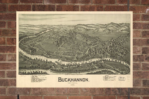 Vintage Buckhannon Print, Aerial Buckhannon Photo, Vintage Buckhannon WV Pic, Old Buckhannon Photo, Buckhannon West Virginia Poster, 1900