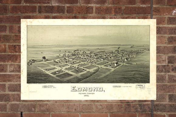 Vintage Edmond Print, Aerial Edmond Photo, Vintage Edmond OK Pic, Old Edmond Photo, Edmond Oklahoma Poster, 1891