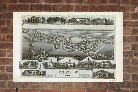 Vintage Annville Print, Aerial Annville Photo, Vintage Annville PA Pic, Old Annville Photo, Annville Pennsylvania Poster, 1888