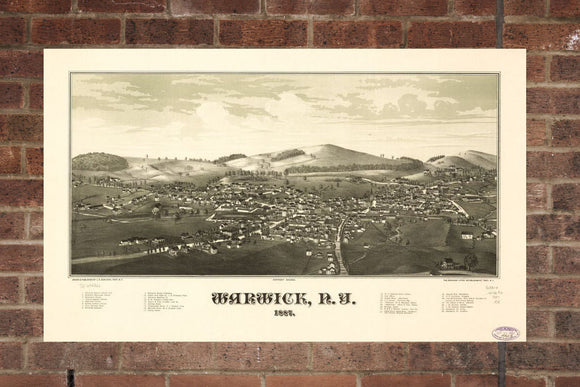Vintage Warwick Print, Aerial Warwick Photo, Vintage Warwick NY Pic, Old Warwick Photo, Warwick New York Poster, 1887