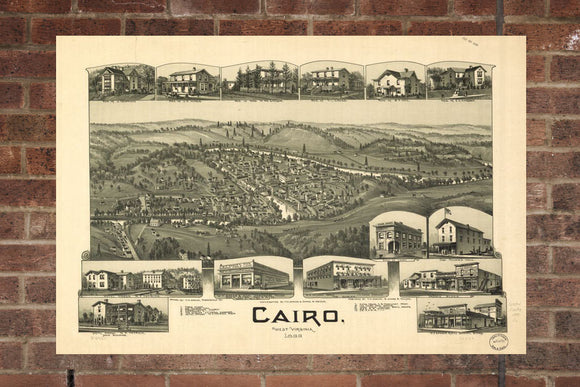 Vintage Cairo Print, Aerial Cairo Photo, Vintage Cairo WV Pic, Old Cairo Photo, Cairo West Virginia Poster, 1899