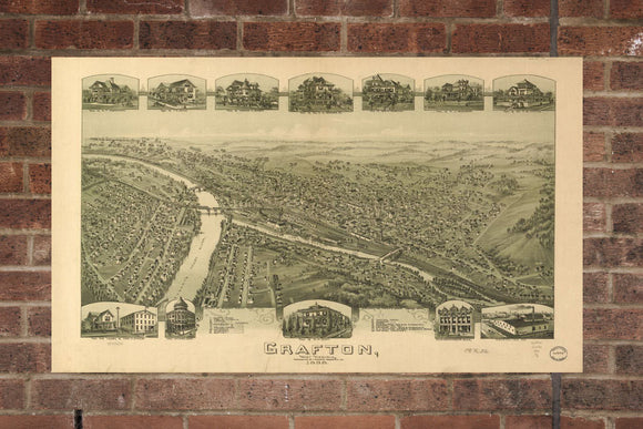 Vintage Grafton Print, Aerial Grafton Photo, Vintage Grafton WV Pic, Old Grafton Photo, Grafton West Virginia Poster, 1898