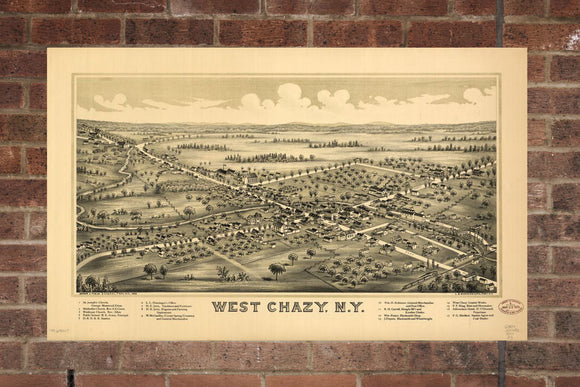 Vintage West Chazy Print, Aerial West Chazy Photo, Vintage West Chazy NY Pic, Old West Chazy Photo, West Chazy New York Poster, 1899