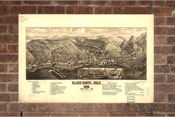 Vintage Black Hawk Print, Aerial Black Hawk Photo, Vintage Black Hawk CO Pic, Old Black Hawk Photo, Black Hawk Colorado Poster, 1882