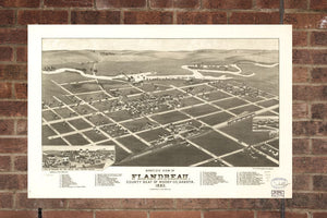 Vintage Flandreau Print, Aerial Flandreau Photo, Vintage Flandreau SD Pic, Old Flandreau Photo, Flandreau South Dakota Poster, 1883