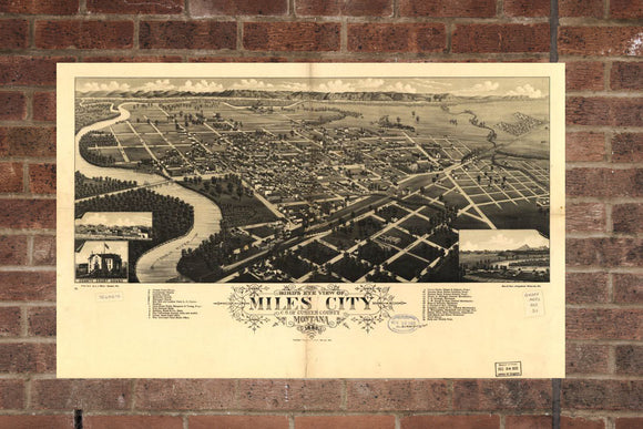 Vintage Miles City Print, Aerial Miles City Photo, Vintage Miles City MT Pic, Old Miles City Photo, Miles City Montana Poster, 1883