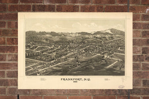 Vintage Frankfort Print, Aerial Frankfort Photo, Vintage Frankfort NY Pic, Old Frankfort Photo, Frankfort New York Poster, 1887