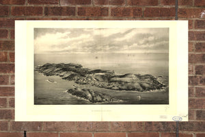 Vintage Monhegan Print, Aerial Monhegan Photo, Vintage Monhegan ME Pic, Old Monhegan Photo, Monhegan Maine Poster, 1866