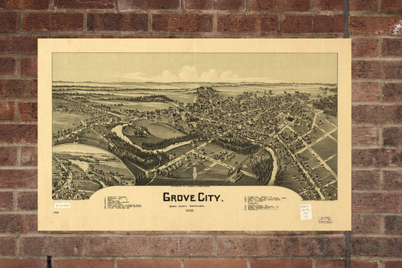 Vintage Grove City Print, Aerial Grove City Photo, Vintage Grove City PA Pic, Old Grove City Photo, Grove City Pennsylvania Poster, 1901
