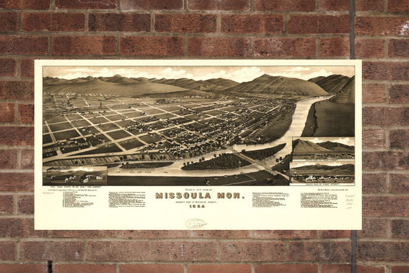 Vintage Missoula Print, Aerial Missoula Photo, Vintage Missoula MT Pic, Old Missoula Photo, Missoula Montana Poster, 1884
