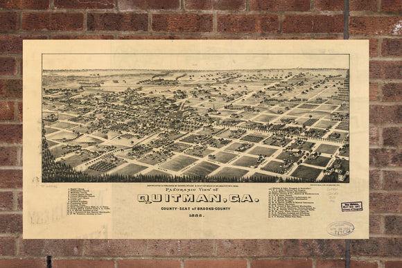 Vintage Quitman Print, Aerial Quitman Photo, Vintage Quitman GA Pic, Old Quitman Photo, Quitman Georgia Poster, 1885