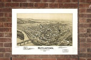 Vintage Mifflintown Print, Aerial Mifflintown Photo, Vintage Mifflintown PA Pic, Old Mifflintown Photo, Mifflintown Pennsylvania Poster