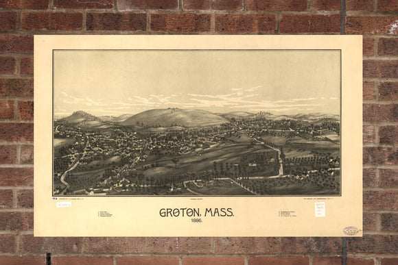 Vintage Groton Print, Aerial Groton Photo, Vintage Groton MA Pic, Old Groton Photo, Groton Massachusetts Poster, 1868