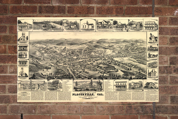 Vintage Placerville Print, Aerial Placerville Photo, Vintage Placerville CA Pic, Old Placerville Photo, Placerville California Poster, 1888