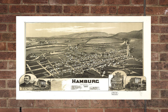 Vintage Hamburg Print, Aerial Hamburg Photo, Vintage Hamburg PA Pic, Old Hamburg Photo, Hamburg Pennsylvania Poster, 1889