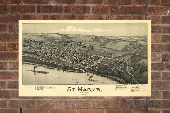 Vintage St. Mary's Print, Aerial St. Mary's Photo, Vintage St. Mary's WV Pic, Old St. Mary's Photo, St. Mary's West Virginia Poster, 1899