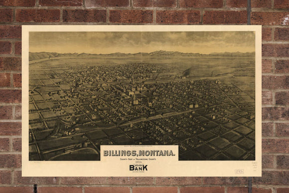 Vintage Billings Print, Aerial Billings Photo, Vintage Billings MT Pic, Old Billings Photo, Billings Montana Poster, 1904