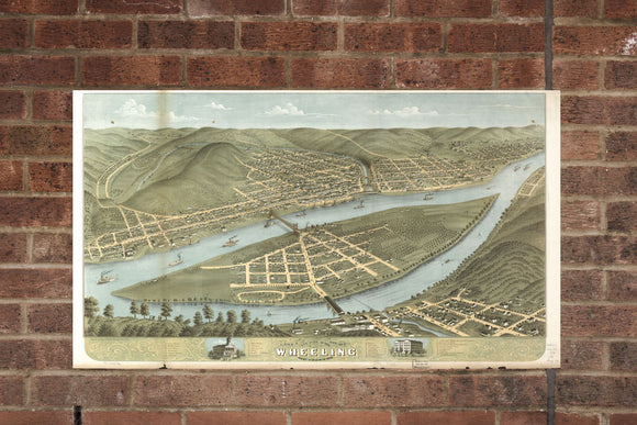Vintage Wheeling Print, Aerial Wheeling Photo, Vintage Wheeling WV Pic, Old Wheeling Photo, Wheeling West Virginia Poster, 1870