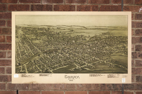 Vintage Corry Print, Aerial Corry Photo, Vintage Corry PA Pic, Old Corry Photo, Corry Pennsylvania Poster, 1895