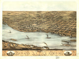 Vintage Lyons Print, Aerial Lyons Photo, Vintage Lyons IA Pic, Old Lyons Photo, Lyons Iowa Poster, 1868