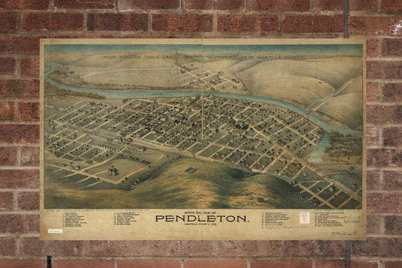 Vintage Pendleton Print, Aerial Pendleton Photo, Vintage Pendleton OR Pic, Old Pendleton Photo, Pendleton Oregon Poster, 1890