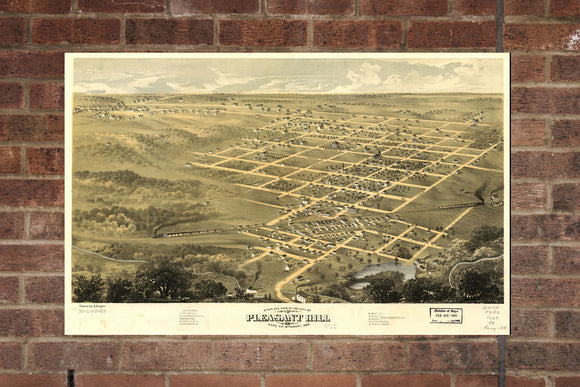 Vintage Pleasant Hill Print, Aerial Pleasant Hill Photo, Vintage Pleasant Hill MO Pic, Old Pleasant Hill Pic, Pleasant Hill Missouri Poster