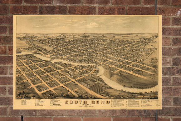 Vintage South Bend Print, Aerial South Bend Photo, Vintage South Bend IN Pic, Old South Bend Photo, South Bend Indiana Poster, 1874