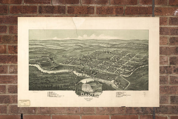 Vintage Davis  Print, Aerial Davis Photo, Vintage Davis WV Pic, Old Davis  Photo,  Davis West Virginia Poster 1898