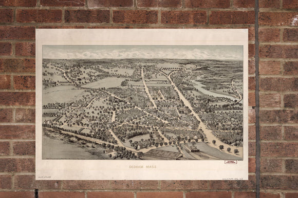 Vintage Dedham Print, Aerial Dedham Photo, Vintage Dedham MA Pic, Old Dedham Photo, Dedham Massachusetts Poster, 1876