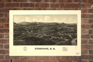 Vintage Penacook Print, Aerial Penacook Photo, Vintage Penacook NH Pic, Old Penacook Photo, Penacook New Hampshire Poster, 1887