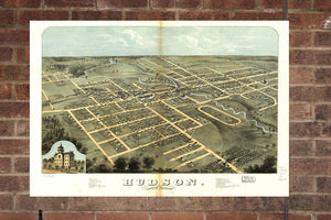 Vintage Hudson Print, Aerial Hudson Photo, Vintage Hudson MI Pic, Old Hudson Photo, Hudson Michigan Poster, 1868