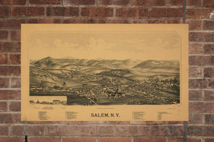 Vintage Salem Print, Aerial Salem Photo, Vintage Salem NY Pic, Old Salem Photo, Salem New York Poster, 1889