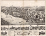 Vintage East Haddam Print, Aerial East Haddam Photo, Vintage East Haddam CT Pic, Old East Haddam Photo, East Haddam Connecticut Poster, 1880