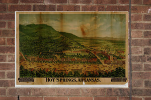Vintage Hot Springs Print, Aerial Hot Springs Photo, Vintage Hot Springs AR Pic, Old Hot Springs Photo, Hot Springs Arkansas Poster, 1890