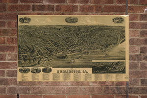 Vintage Burlington Print, Aerial Burlington Photo, Vintage Burlington LA Pic, Old Burlington Photo, Burlington Louisiana Poster, 1889