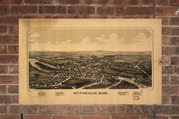 Vintage Mittineague Print, Aerial Mittineague Photo, Vintage Mittineague MA Pic, Old Mittineague Photo, Mittineague Massachusetts Poster
