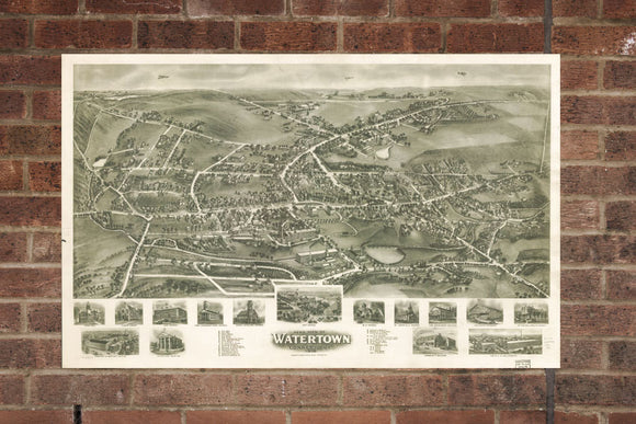 Vintage Watertown Print, Aerial Watertown Photo, Vintage Watertown CT Pic, Old Watertown Photo, Watertown Connecticut Poster, 1918
