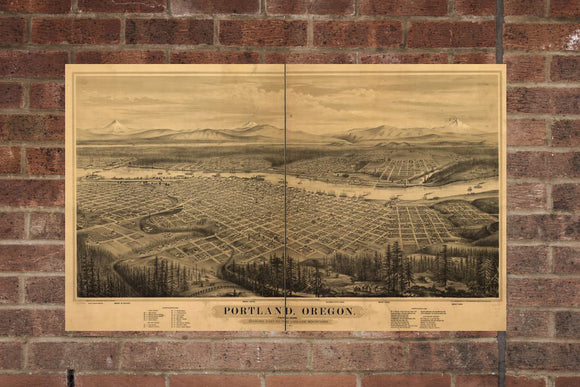 Vintage Portland Print, Aerial Portland Photo, Vintage Portland OR Pic, Old Portland Photo, Portland Oregon Poster, 1879